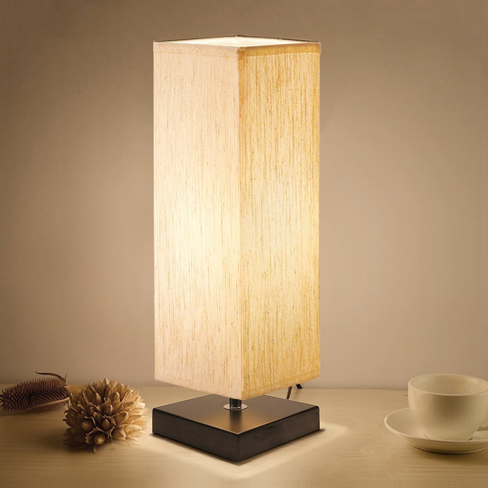 Kakanuo Bedside Table Lamp Square Shape 4.1*4.1*13.2inch